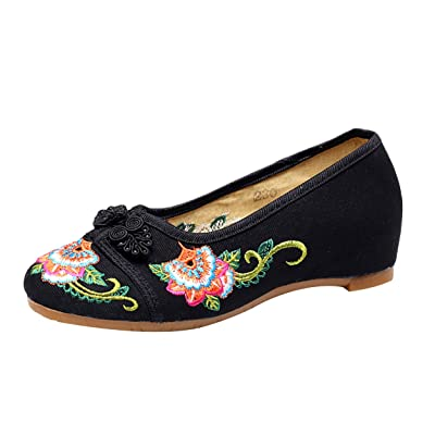 Icegrey Femme Mary Janes Fait Main Broderie Fleur Ballerine Chaussures Plat Chaussures Bateau avec Boucle Noeud