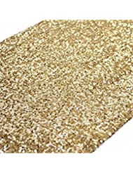 TRLYC 12 By 108 Inch Elegant Rectangle Gold Sequin Wedding Table Runner  Gold Glitz Table Linens