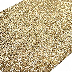 TRLYC 12 by 108-Inch Elegant Rectangle Gold Sequin Wedding Table Runner Gold Glitz Table Linens