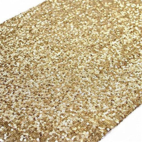 TRLYC 12 by 108-Inch Elegant Rectangle Gold Sequin Wedding Table Runner Gold Glitz Table Linens -