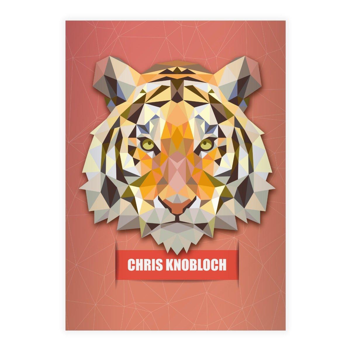 Kartenkaufrausch 16 personalisierte, Starke Raubkatzen DIN A5 Schulhefte, Schreibhefte mit polygonalem Tiger in rot Lineatur 6 (blanko Heft)