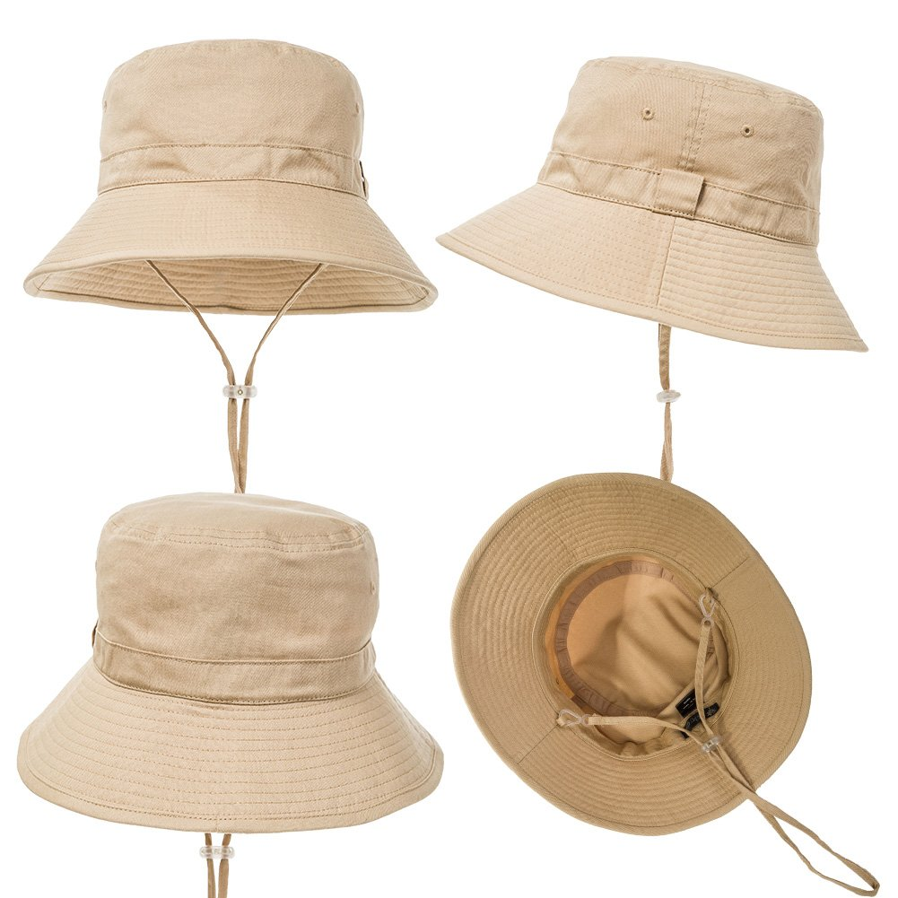 1e6745e8283 Amazon.com  SIGGI Bucket Boonie Cord Safari Hat Fishing Hiking Cap Cotton  for Men Women UPF 50+ Khaki  Clothing
