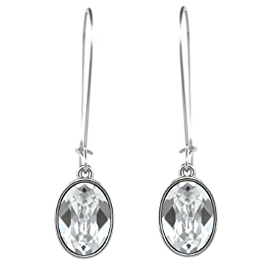 b6c15e5b5 Amazon.com: CP Oval Puzzle Clear Crystal Rhodium Plated Earrings ...