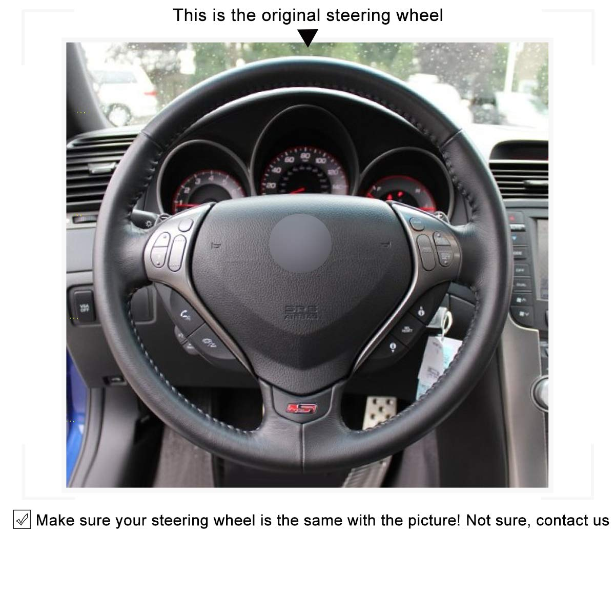 MEWANT Handsewing Black Artificial Leather Steering Wheel Cover Wrap for Acura TL 2007 TL Type-s 2007 Accessories Protector Automotive Interior
