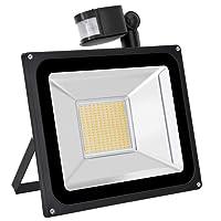 100W Projecteur Led Exterieur Detecteur de Mouvement, Luminaires Éclairage extérieur et Intérieur IP65 étanche, Lampe Led Spot pour Jardin, Cour, Couloir, Mur (Blanc Chaud, 10000LM)