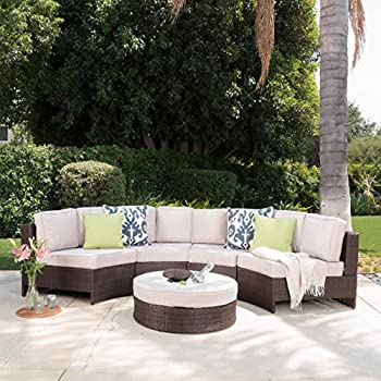 Riviera Ponza Outdoor Patio Furniture Wicker 4 Piece Semicircular Sectional  Sofa Seating Set W/ Waterproof Cushions (Ice Bucket Ottoman, Beige)