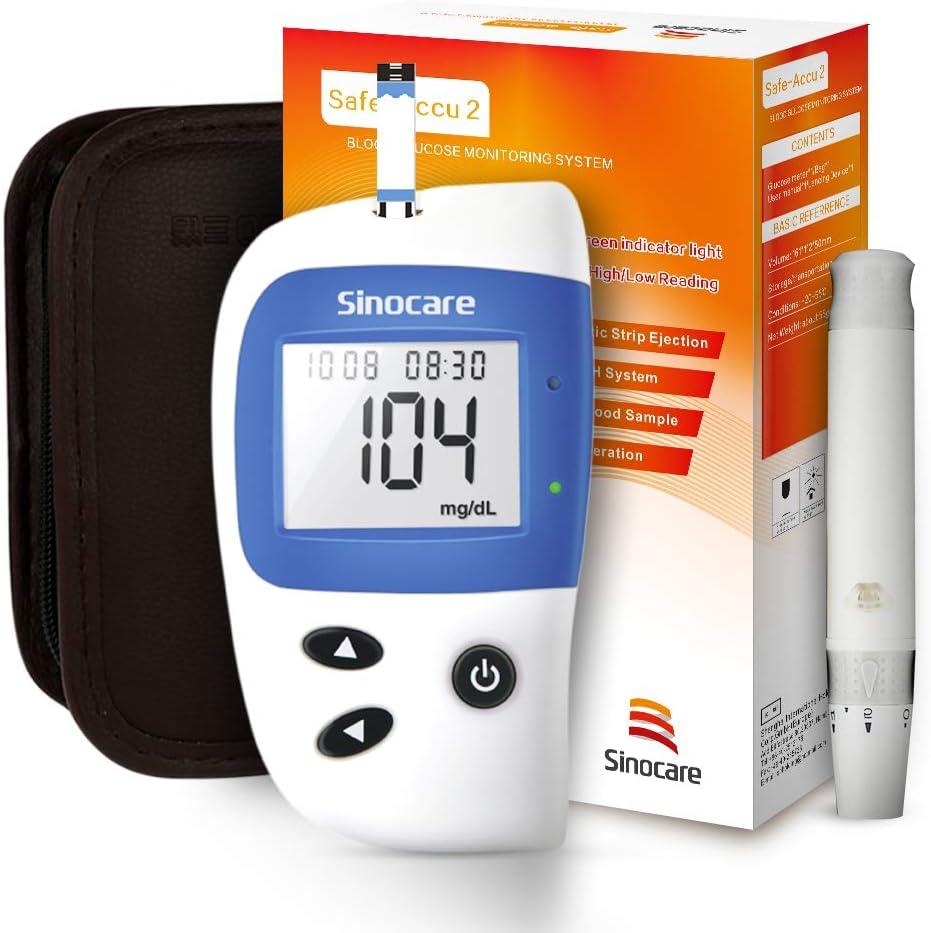 sinocare medidor de glucosa en sangre, kit de prueba de glucosa en sangre Safe-Accu2 con tiras de prueba de glucosa en sangre x 50