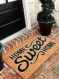 Tar Heel MarketPlace Mats Natural Coir Non Slip Home Sweet Home Floor Entrance Door Mat Indoor/Outdoor (18, 30)