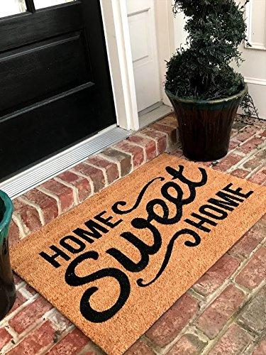Tar Heel MarketPlace Mats Natural Coir Non Slip Home Sweet Home Floor Entrance Door Mat Indoor/Outdoor (24, 36) ()