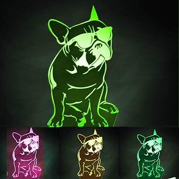 Jinson well 3D französische bulldogge Nachtlicht Lampe optische Nacht licht Illusion 7 Farbwechsel Touch Switch Tisch Schreibtisch Dekoration Lampen