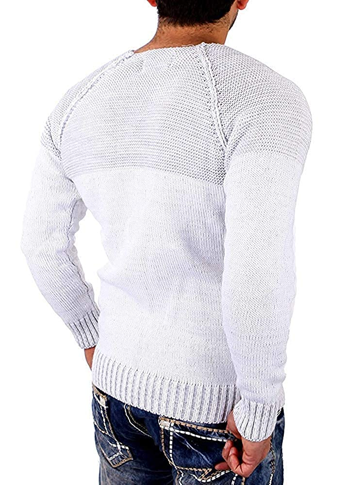 Dolwins Mens Ribbed Knit Pullover Sweater Twisted Color Block Casual Long Sleeves