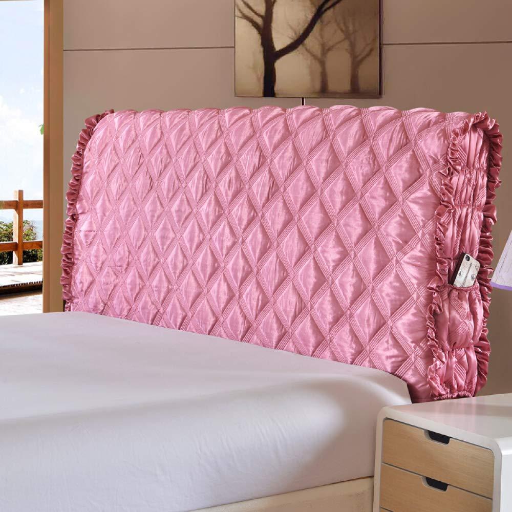 LZTET ヘッドボードカバー ヨーロピアン生地 プリンセス風 ベッド用背もたれ保護カバー 無地 木製 ソフト 厚手 寝具一式 洗濯可能 220cm ピンク 35462 B07JPQZWMQ ピンク 220cm