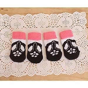 Saver Cat Dog Socks Black Shoes Pattern Anti-Slip Warm Cotton Pet Socks