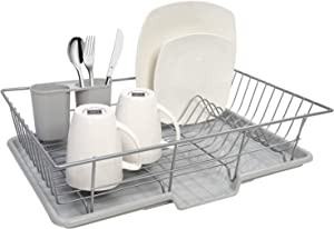 """Sweet Home Collection 3 Piece Dish Drainer Rack Set, 12"""" x 19"""" x 5"""", Silver"""
