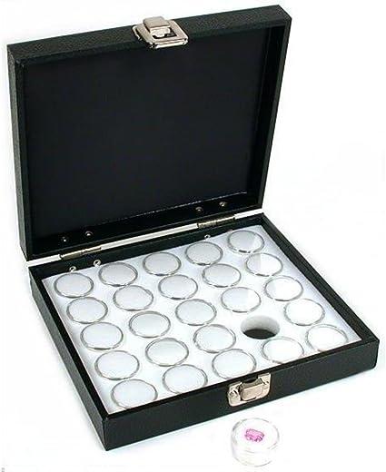 25 Gem Jars Black Display Tray Gemstone Travel Case