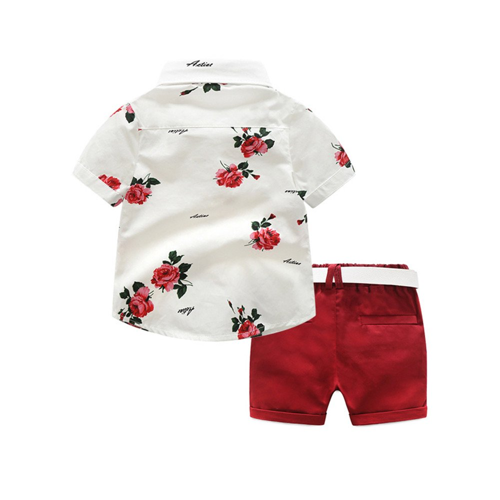 Shorts Set 2 Piece Outfits Kids Baby Boys Summer Gentleman Bowtie Short Sleeve Floral Shirts