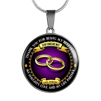 Amazon.com: To My Gorgeous Wife Necklace - Luxurious Stainless Steel Pendant Necklace: Jewelry