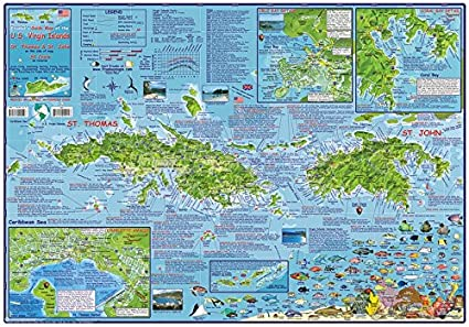 US Virgin Islands USVI Dive Map Laminated Poster By Franko Maps