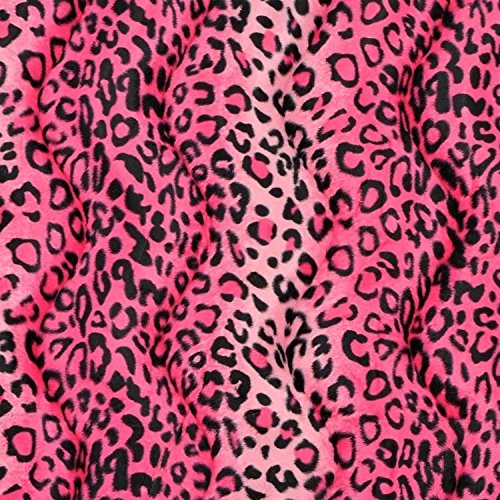 """Pink Leopard Velboa Faux Fur Fabric - Sold By The Yard - 58""""/ 60"""""""