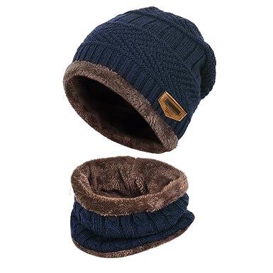 Enfants Bonnet Echarpe Hiver Casual éPais Chapeau Chaud Tour De Cou Unisex  (Bleu) cad5f0fdc6c