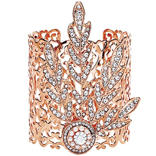 BABEYOND 1920s Flapper Bracelet Great Gatsby Leaf Pattern Roaring 20s Accessories Bracelet Jewelry (Rose Gold) ()