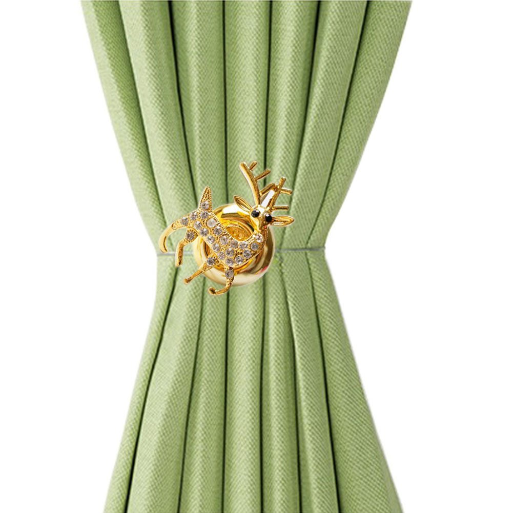 EleCharm Ayygift 1 Pair Creative Cute Deer Magnetic Curtain Holdback Decorative Tie Backs (Gold)