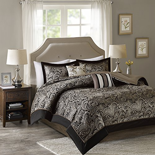 Queen Comforter Set - 5-Piece - Charlize Jacquard Comforter Set - Black and Gold - Full / Queen Size by Comfort Spaces (Comforter Paisley Queen)