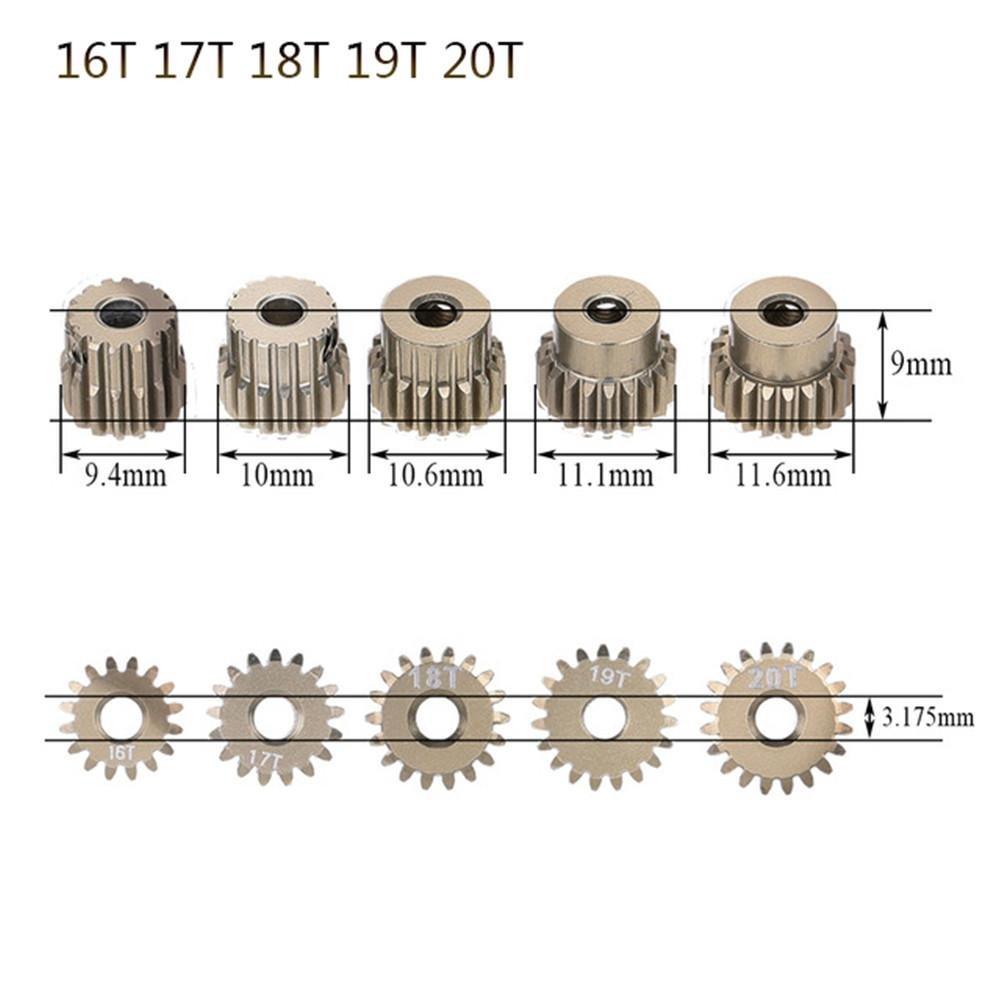 Crazepony-UK 48DP 3.175mm 13T 14T 15T 16T 17T 18T Motore Pignone Ingranaggio per RC Auto 1