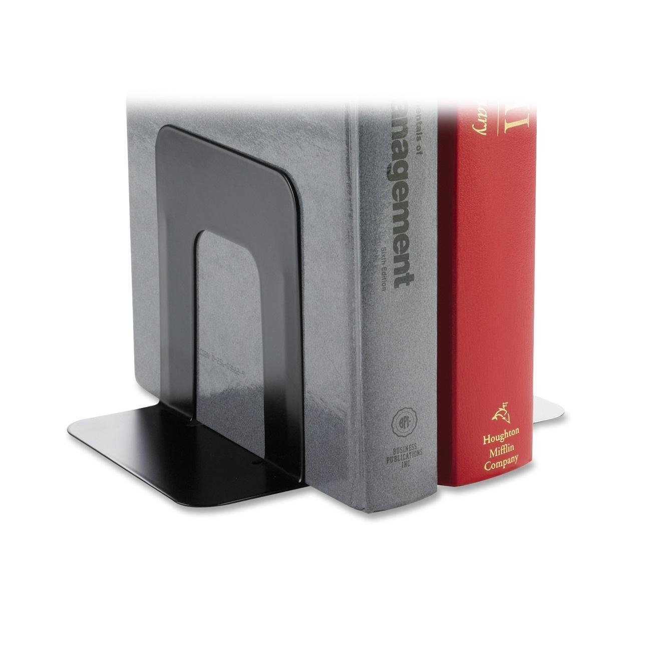 Business Source Products - Bookend Supports, Standard, 4-9/10''x5-7/10'' 5-3/10'', Black - Sold as 1 PR - Book supports are made of heavy-gauge steel with smooth edges and baked enamel finishes. Nonskid poly bases will not scratch or stain surfaces.