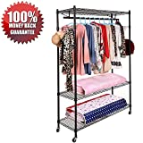 Clothing Closet Storage Garment Racks Clothes Hangers Hanging Shelves Free-Standing Rolling Heavy-Duty Commercial Top and Bottom Drying