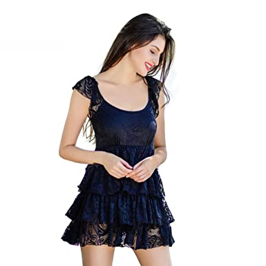 Amazon Com Cbebou Brand Sexy Black One Piece Swimsuit Skirt Women
