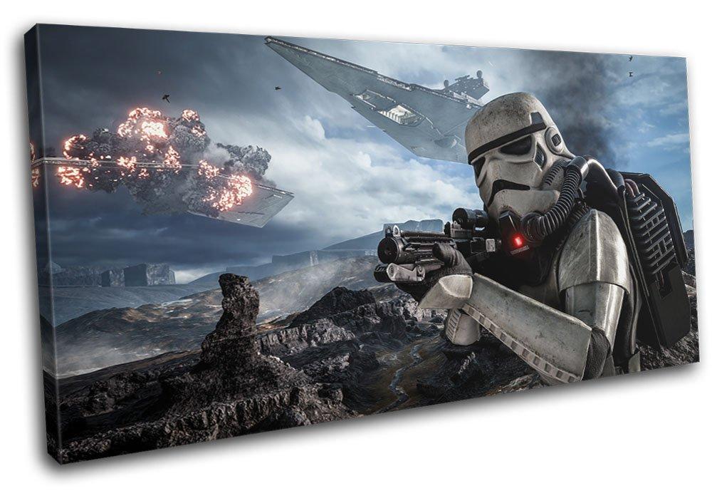 Bold Bloc Design - Star Wars Battlefront Gaming 80x40cm SINGLE Leinwand Kunstdruck Box gerahmte Bild Wand hangen - handgefertigt In Grossbritannien - gerahmt und bereit zum Aufhangen - Canvas Art Print