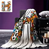 smallbeefly Letter H Custom Design Cozy Flannel Blanket Letter H Stacked from Gaming Balls Alphabet of Sports Theme Competition Activity Lightweight Blanket Extra Big Multicolor