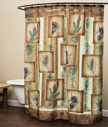 Black Forest Decor Pinecone Shower Curtain