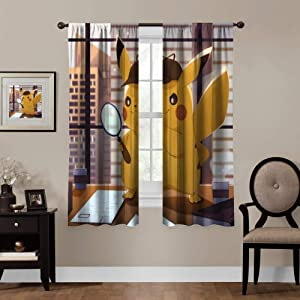 Anime Blackout Curtains,Detective Pikachu, Rod Pocket Thermal Insulated Darkening Window Drapes for Bedroom, Cute Animal Boys Girls Room Décor, 2 Panels,55x39 inch