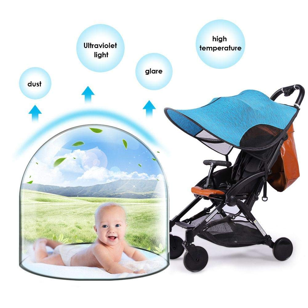 ZLMI Sunshade for Baby Stroller Universal pram pushchairs Buggy Sun Shade Parasol Sunscreen Cover Thickened Steel Wire Strip,Blue by ZLMI (Image #4)