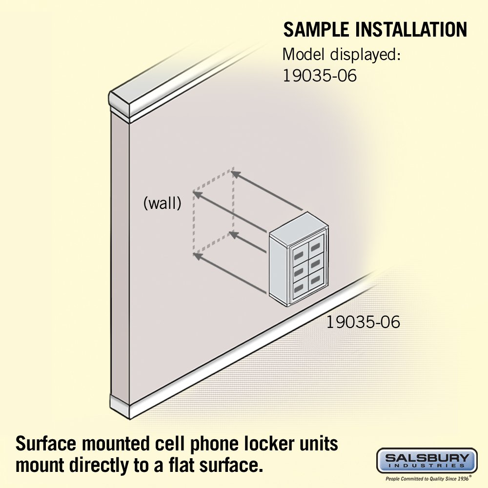 Salsbury Industries 19035-06ASC Cell Phone-3 Unit Surface Mounted-Resettable Combination Locks with 5-Inch Diameter Compartments, Aluminum