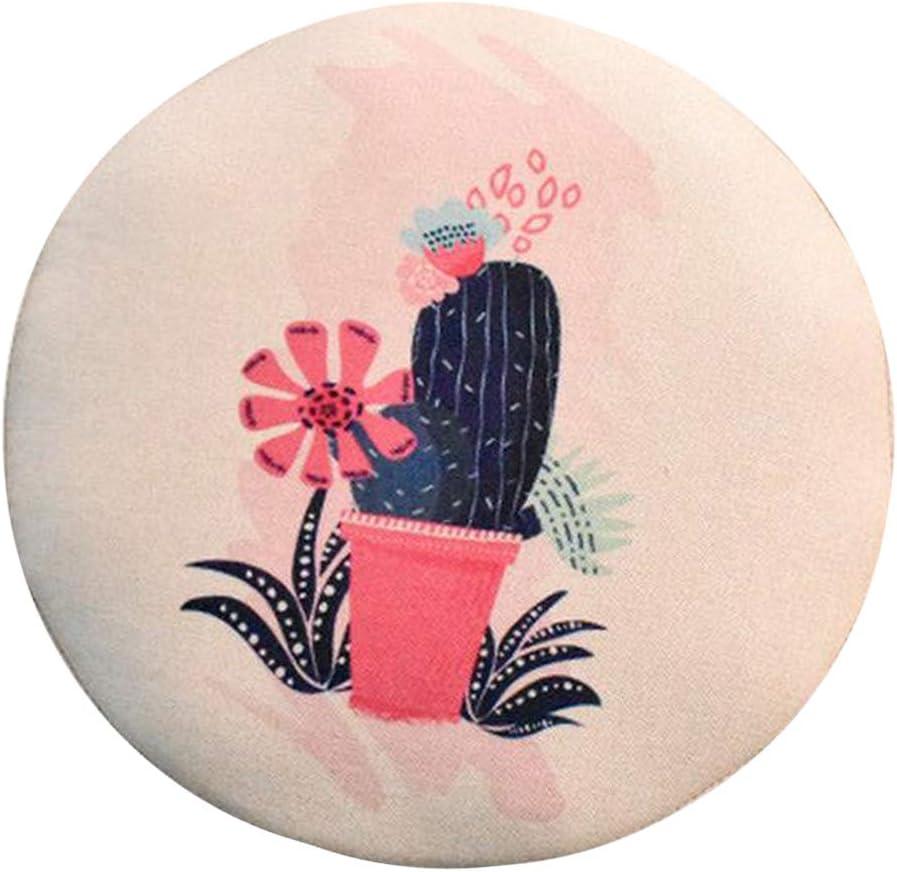 Piano in Lino, Spugna Media 0.8cm PETSOLA Fascia Elastica Rotonda Sgabello Sgabello Rotondo Sedia Girevole Sedile Fodera Cuscino Maniche Cactus Flower-30cm