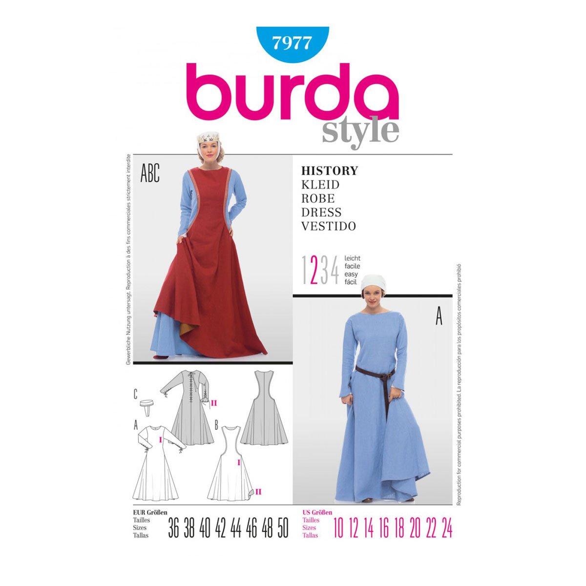Burda Schnittmuster 7977 History Kleid,Robe,Vestido Gr. 36-50 ...