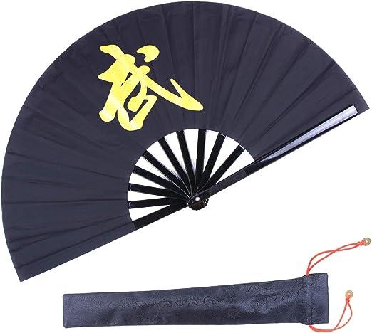 13 inches silk dragon kungfu fan black US seller fast shipping