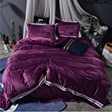 XUEXIN Solid color crystal cashmere thickened warm velvet four-piece Beding Sets 1pc Duvet Cover 2pcs Shams 1pc Flat Sheet , H , King