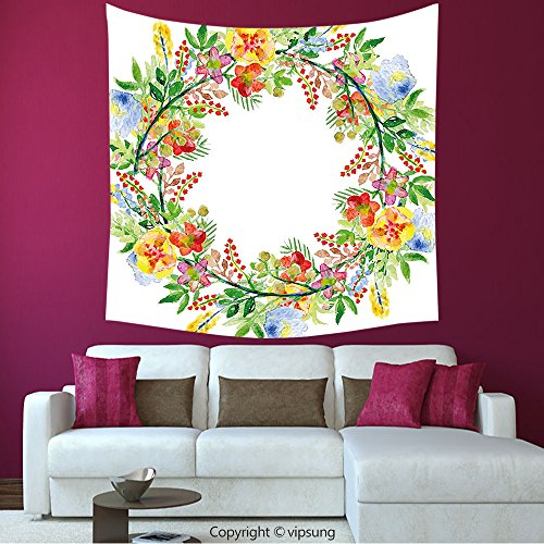 House Decor Square Tapestry-Flowers Decor Wreath With Branches Flowers And Leaves Save The Date Card Invitation Print Multicolored_Wall Hanging For Bedroom Living Room (Print Off Halloween Invitations)