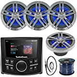 Rockford Fosgate PMX-2 Ultra Compact Bluetooth Marine Boat MP3 Digital Media Receiver Bundle Combo With 4x Enrock Black/Chrome 6.5 Inch Audio Speaker + 22 Radio Antenna + 50 Ft Speaker Wire