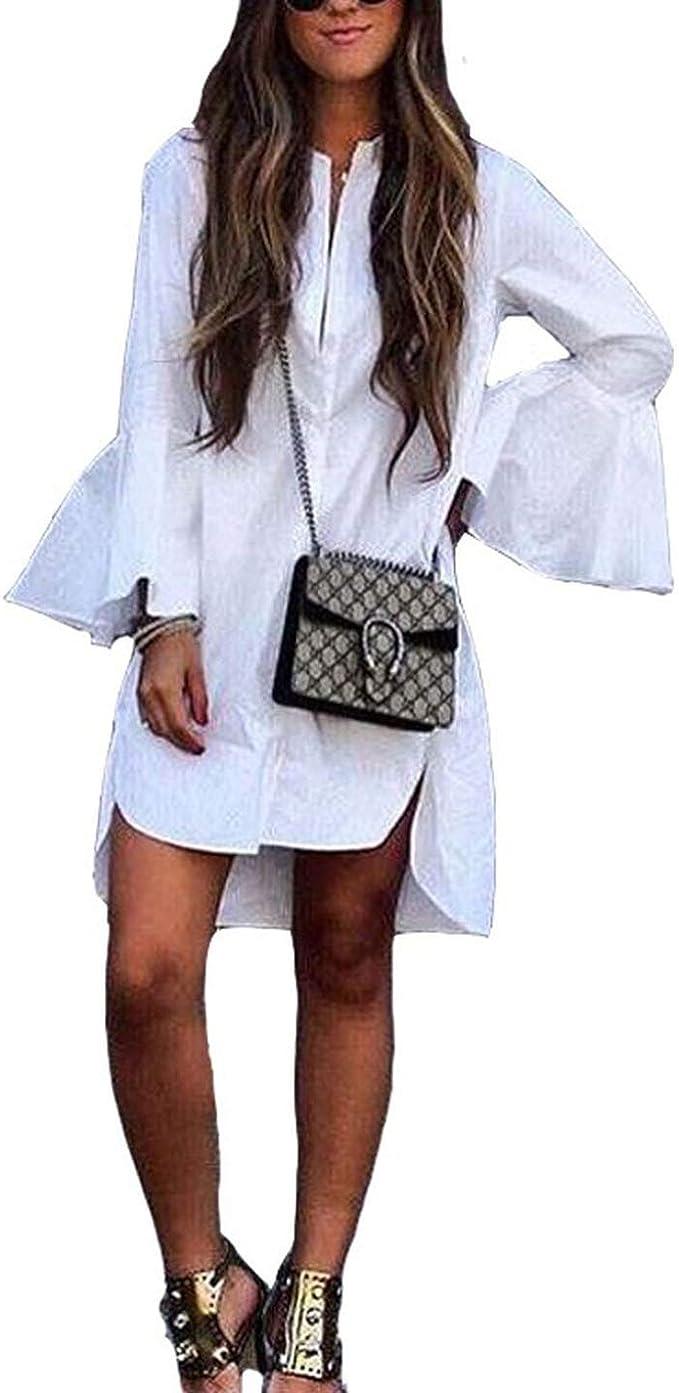 Vestido de camisa blanca de la manga de la llamarada ...