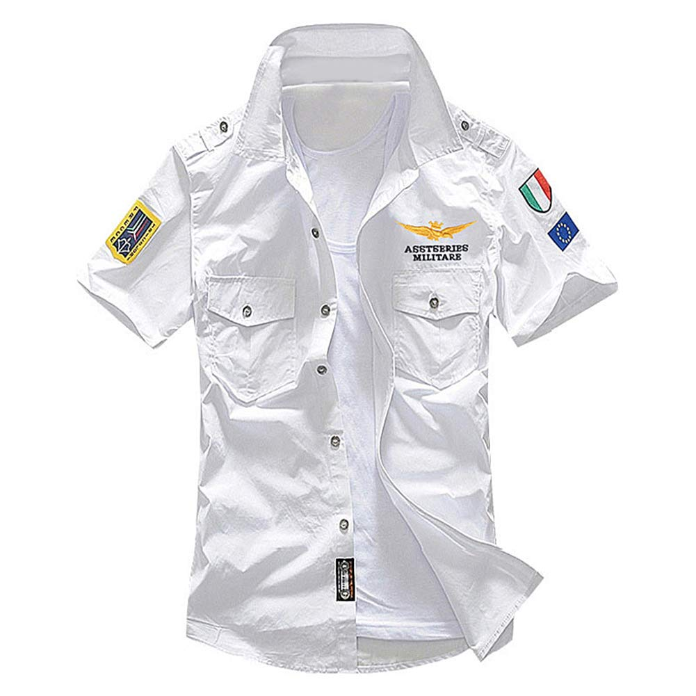 Aland Military Men Letter Embroidery Patch Pocket Slim Button Down Short Sleeve Shirt