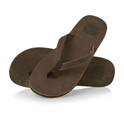 1993f22b30b6 Reef Mens Skinny Leather Thong Toe Post Bronze Surfer Flip Flops Sandals - Bronze  Leather -