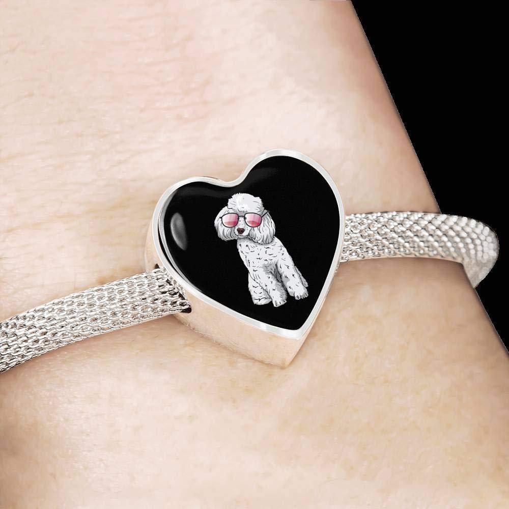 Weezag Poodle Heart Charm Steel Bracelet for Cute Dog Lovers