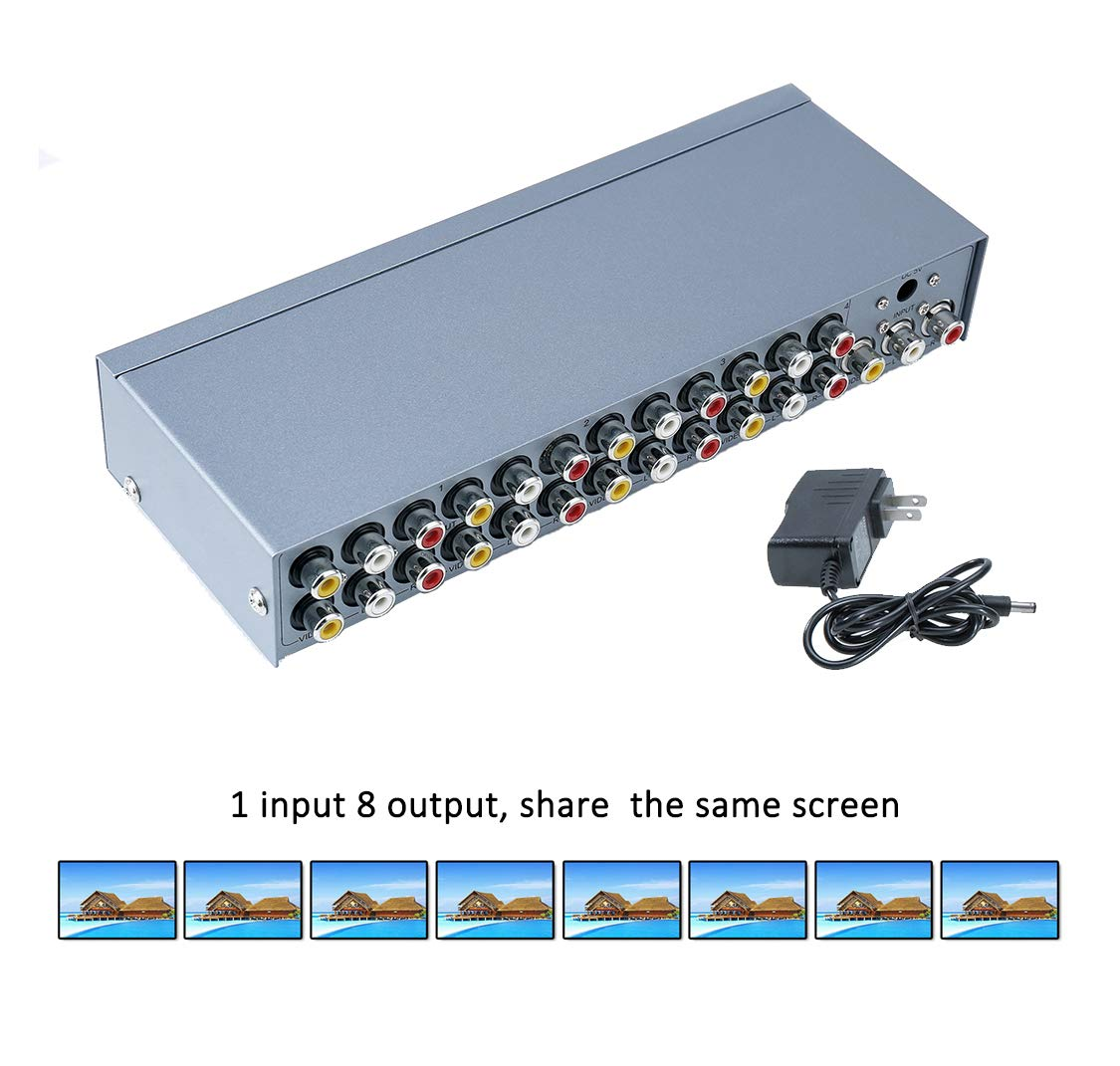 DTECH Powered 8 Port 3 RCA Splitter Box Support 1 in 8 out Audio Video Distribution Amplifier