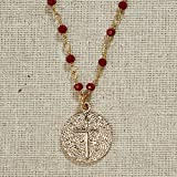 Set of 3 Vintage Blessings II. Gold Cross Necklace on Deep Red Beaded Chain
