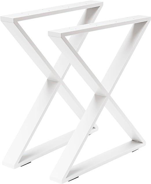 Madera werk24 mesa estructura tux404 Acero Blanco Cruz X ...